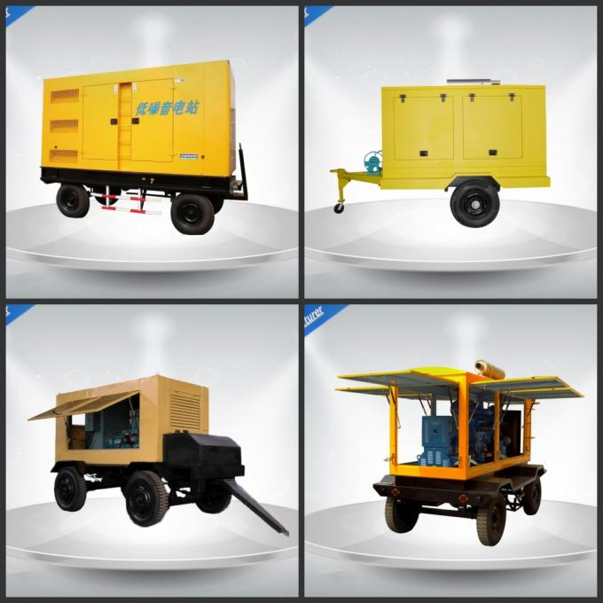 Brushless Silent Genset Trailer 4 Cylinder Prime Power 50Kw / 63Kva Water - Cooling