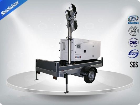 চীন Single Phase Generator Mobile Light Tower Trailer With Manual Operated Mast কারখানা