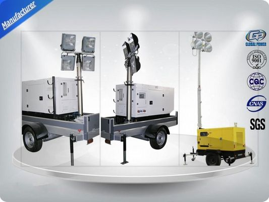 চীন Low Noise Trailer Mounted Mobile Light Tower Generator 10Kw/12Kva F Insulation Class কারখানা